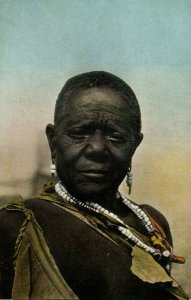German South West Africa, Old Damara Woman, Bergdamra, Necklace Jewelry (1910s)