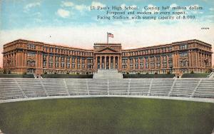 El Paso's High School, El Paso, Texas, Early Postcard, used in 1928