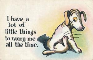 Comical Dog A lot of little thins to worry me (fleas?) - Humor - pm 1923 - Linen
