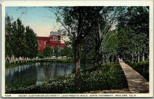 Boulder Colorado Postcard Macky Auditorium University Lake Prexy's Walk c1920s