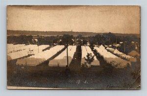 Postcard IL Peoria Camp Murphy Knights Templar MWA June 1908 Tents RPPC Z13