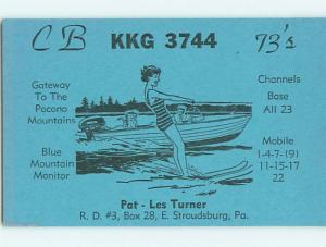 risque GIRL WATER SKIING - QSL HAM RADIO CARD East Stroudsburg PA t1333