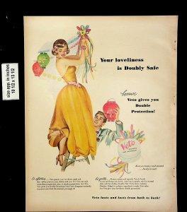 1949 Veto Lasts Bath to Bath Soap Vintage Print Ad 20875
