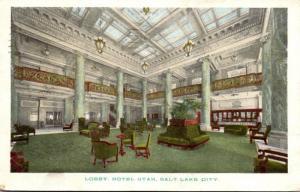 Utah Salt Lake City Hotel Utah Lobby 1922