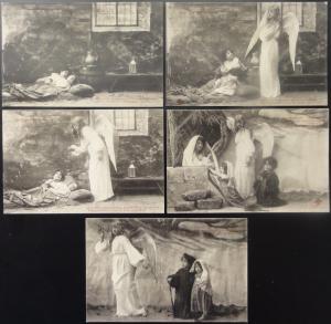 French Set of 5 NOEL DES BEGERS - Christmas Shepherd / Children & Angels c1905