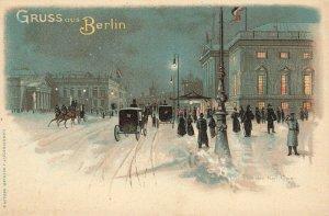 Germany Gruss Aus Berlin Snow Storm Horse & Wagons Postcard