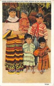 WHITE BORDER ERA (1915-1930) Seminole Indians, Florida USA Postcard