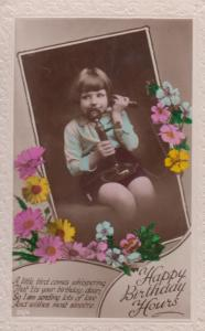 Child With Antique Telephone Happy Birthday Real Photo Old Postcard