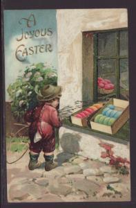 A Joyous Easter,Boy,Eggs Postcard