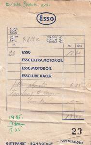 1950s French Francais Essence Esso Petrol Receipt