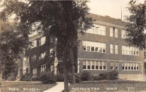 Pocahontas Iowa~High School Building~Trees/Bushes along Walkway~1928 RPPC