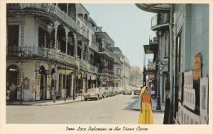 NEW ORLEANS, Louisiana; Street Scene, Vieux Carre, French Quarter, Iron Lace ...
