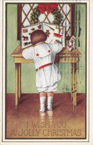 CHRISTMAS, PU-1914; I Wish You A Jolly Christmas Child Writing A Letter