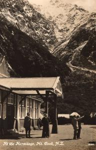 Visitors at the Hermitage Mount Cook New Zealand Real Photo Postcard