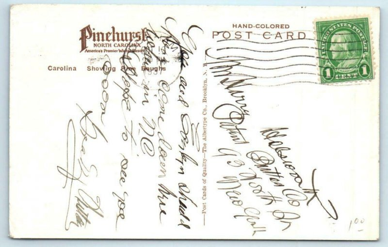PINEHURST, North Carolina NC ~ Handcolored THE CAROLINA 1937 Albertype  Postcard