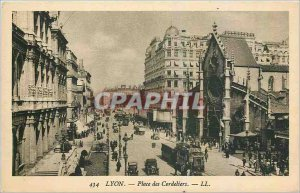 Old Postcard Lyon Place des Cordeliers Tramway