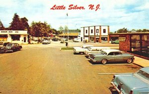 Little Silver NJ Section of the Business District Old Cars Postcard