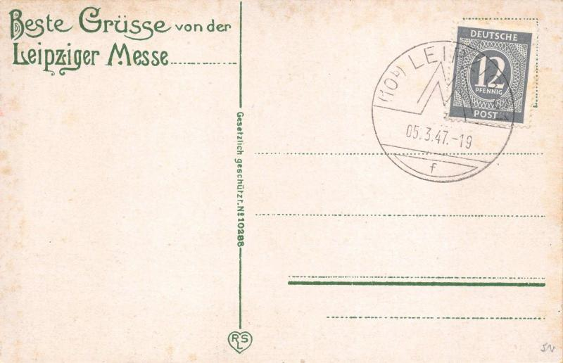 Vintage 1947 Leipzig Germany Postcard Map City Street Plan Messzentrum 29C