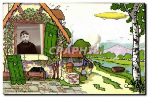 Old Postcard Fantasy Children Photography Zeppelin Airship