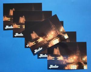 Pack of 6 NEW High Quality Glossy Postcard Trafalgar Square at Night, London