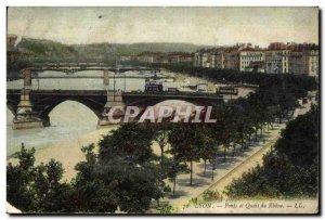 Old Postcard Lyon Rhone Bridges and Platforms