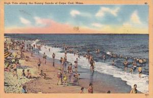 Massachusetts Cape Cod Beach Scene High Tide Along The Sunny Sands