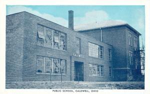 Caldwell Ohio~Public School, Big Chimney~Blue Sky Postcard by Kegerreis~1950s