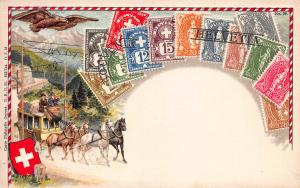 Switzerland, Classic Stamps in Actual Colors, Early Embossed Postcard, Unused