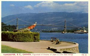 Canada - BC, Vancouver. Figurehead of Empress of Japan and Lions Gate Bridge
