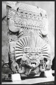 Carving at Temple of Quetzalcoatl Teotihuacan MEXICO RPPC Unused c1940s