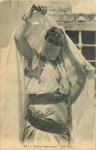 Arab Muslim woman ethic Dress C-1910 Postcard Femme Mauresque 3636