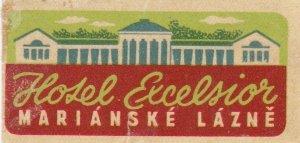 Czechoslovakia Marianske Lazne Hotel Excelsior Vintage Luggage Label sk4483