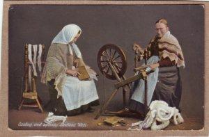P1350 old postcard spinning wheel carding & spinning shetland wool, 2 woman