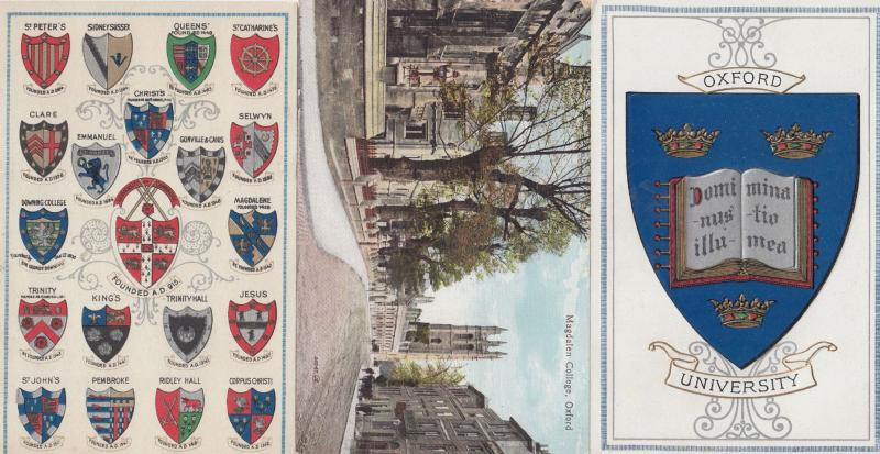 Magdelen College Oxford University 3x Old Heraldry Postcard s