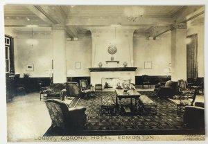 Old Vintage Real Photo Postcard RPPC Lobby of Corona Hotel in Edmonton Canada