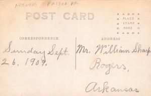 FAYETTEVILLE, ARKANSAS FRISCO TRAIN DEPOT-1909 RPPC REAL PHOTO POSTCARD