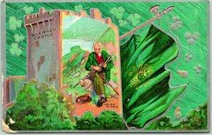 Vintage 1910s ST. PATRICK'S DAY Embossed Postcard Blarney Castle / Irish Piper