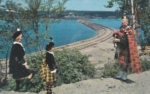 Road to the Isles Causeway, Man Bagpiping, Girls looking, CAPE BRENTON, Nova ...