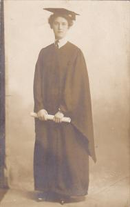 Minnie Young Girl In Cap and Gown College Graduate Swords Brothers Studio Han...