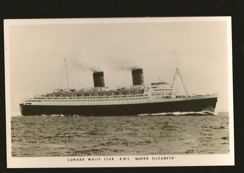 Cunard White Star Line RMS Queen Elizabeth Real Photo Postcard Unposted