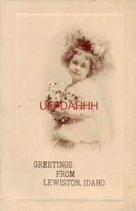 1909 GREETINGS FROM LEWISTON, IDAHO young flower child with bouquet