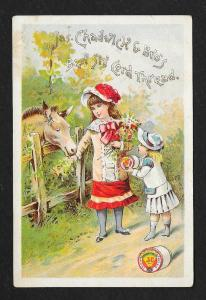 VICTORIAN TRADE CARD Chadwick Thread Girls w/Horse