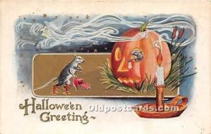 Halloween Postcard Old Vintage Post Card Pumpkin, Mice 1911