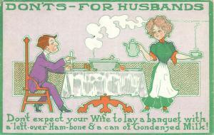 Dont's for Husbands, Husband at Table Vintage Divideed Back Comic Postcard