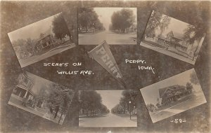 G41/ Perry Iowa RPPC Pennant Postcard 6View Homes on Willis Avenue