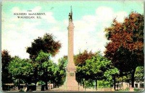 1909 Waukegan, Illinois Postcard SOLDIERS MONUMENT Park View w/ Cancel