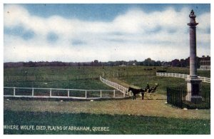 Canada  Quebec Plains of Abraham Where Wolf Died