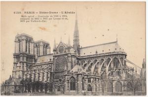 France, PARIS, Notre-Dame, L'Abside, unused Postcard