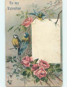 Pre-Linen valentine BEAUTIFUL BIRDS SITTING IN PINK ROSE FLOWERS HJ2680