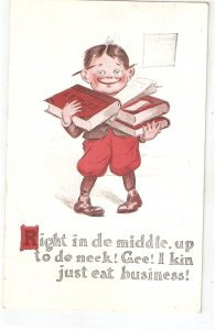 Boy holding books. Right in the midle.. Humorous vintage American postcard
